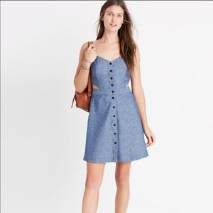 Madewell Chambray Cutout Cami Button Down Dress
